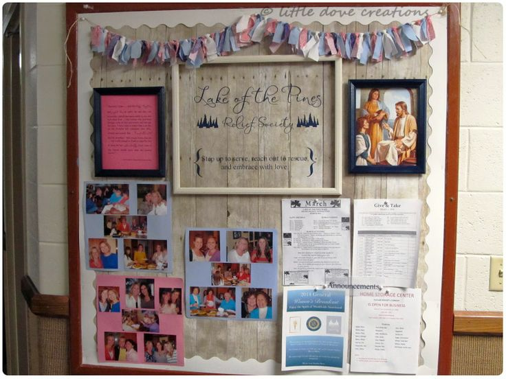... relief society bulletin board. LDS Relief Society ward bulletin board