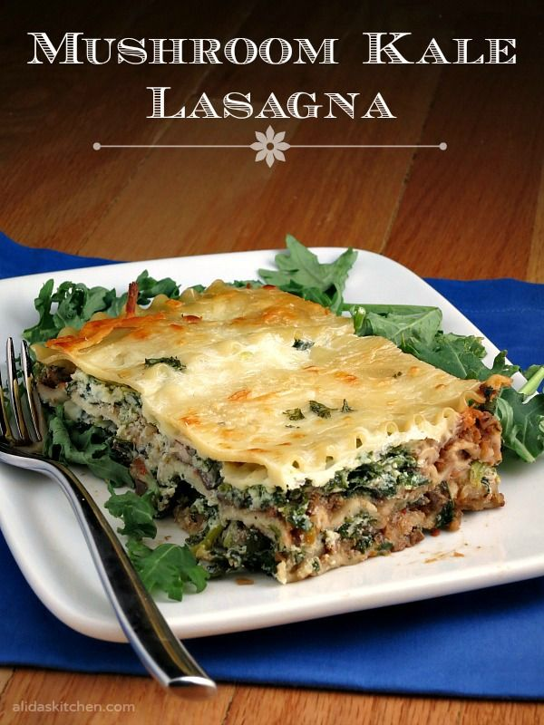 Mushroom Bolognese Kale Lasagna | alidaskitchen.com