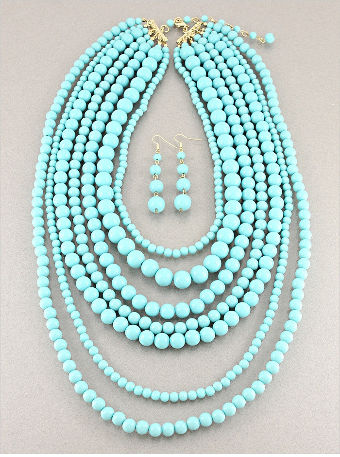 turquoise beaded multi strand necklace accessories