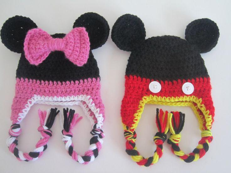 PDF PATTERN - Mickey and Minnie Mouse Newborn Earflap Hats