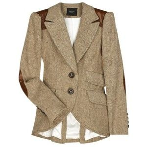ve been searching for a women's tweed jacket with leather elbow