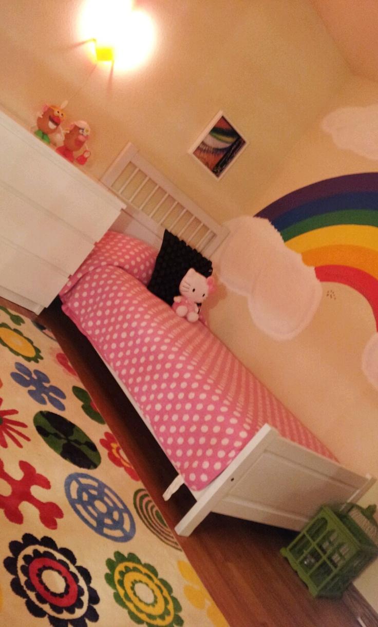 Completed design rainbow girl 39 s room little girl for Rainbow bedroom ideas