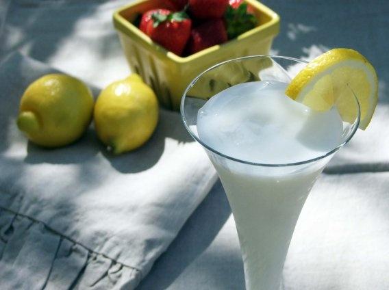 Sgroppino -- lemon sorbet, vodka, prosecco, and half/half