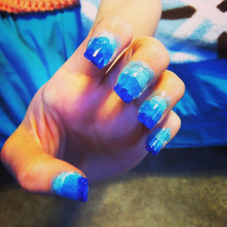 Ombre Nails Pink And Blue Blue Ombre Nails