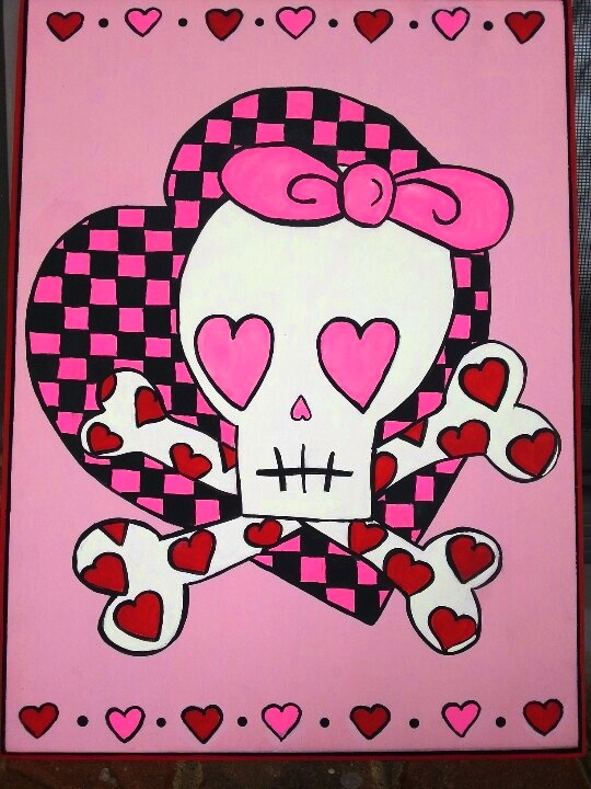 valentine skull girl