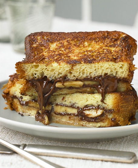 banana and chocolate french toast sandwich.