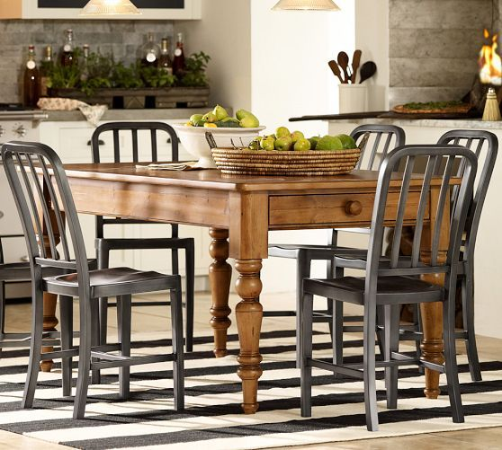 Laney fixed kitchen table pottery barn dining pinterest for Barn style kitchen table