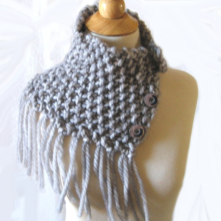 Fringed Hand Knit Gray Cowl Capelet just included in a new Etsy treasury: https://www.etsy.com/treasury/MTExMjgyOTB8MjcyNDExMTU2NA/simple-silver-for-mothers-day#