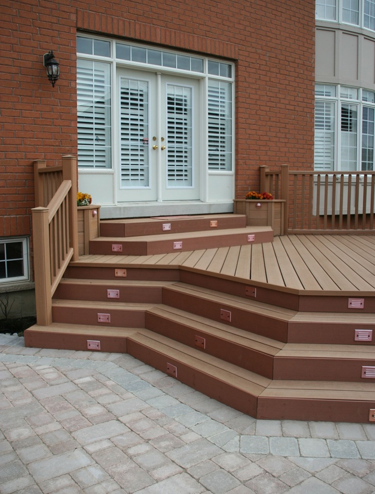 Layer Deck Steps To Patio Sitting Area Backyard