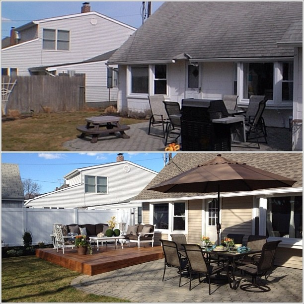 a before and after of the back of this house- a new roof, siding, fence, deck, and furniture for this cozy Levittown home! Click the photo to watch this episode!