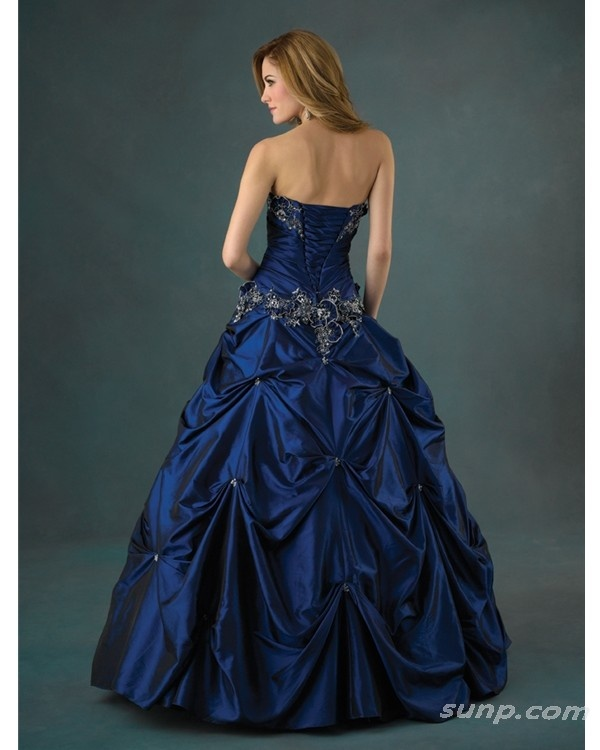 Ball gown strapless midnight blue wedding ideas pinterest for Midnight blue wedding dress