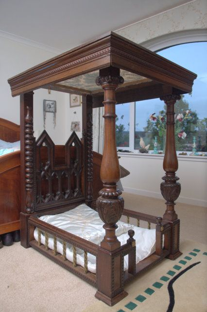 Antique victorian bespoke wood four poster dog bed for Four poster dog bed for sale
