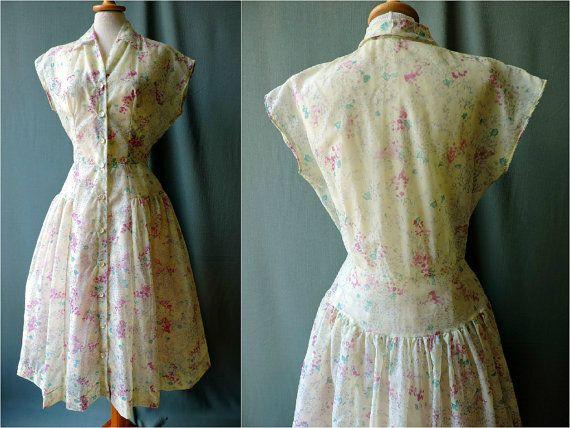 SALE True vintage 1950s nylon blouses dress by GoodyGoodyBerlin