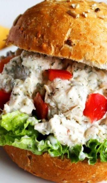 Looks so good! Feta Dill Chicken Salad Sandwich via Devour #comfort # ...