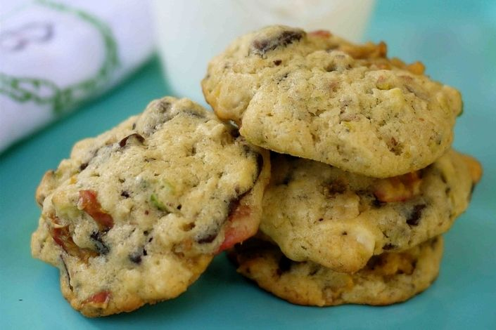 Pistachio White Chocolate Cherry Crisps Recipe — Dishmaps