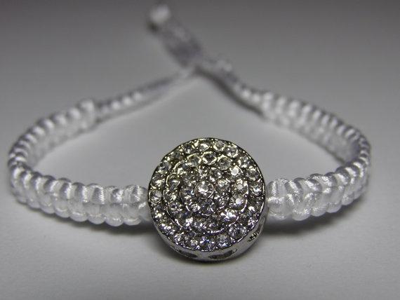White bracelet with rhinestones by ByKarianne on Etsy, kr70.00/$12.02