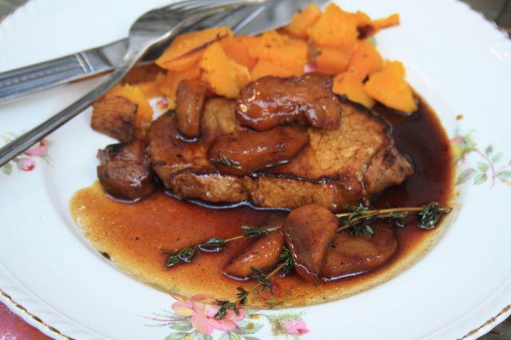 Pork chops with molasses cider glaze and sautéed apples