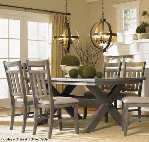 Powell Turino Grey Oak Dining Room Kitchen Table 4 Chairs 5 Pc Set Fu