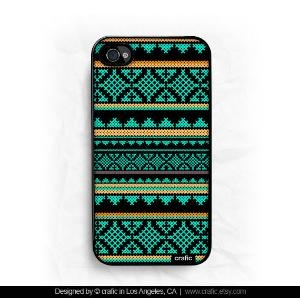 iPhone 4 case iPhone 4s case  Mint Aztec Design iPhone by CRAFIC