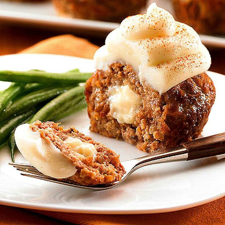 Meatloaf Cupcakes with Mashed Potatoes | Meats | Pinterest