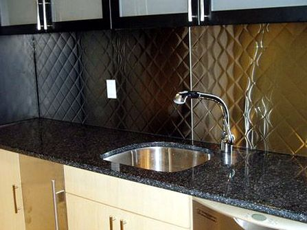 brushed 3 quilted stainless steel backsplash