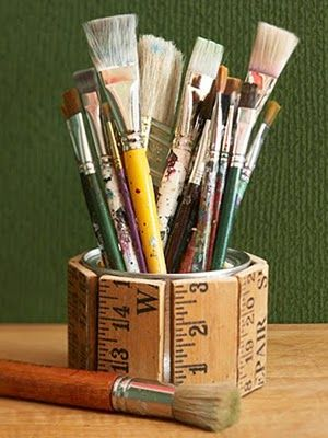 Upcycle... tin can + yard stick