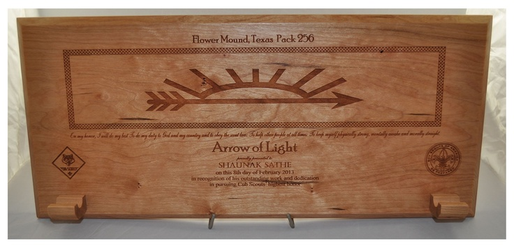 arrow of light award plaque with arrow holders for my husband. Black Bedroom Furniture Sets. Home Design Ideas