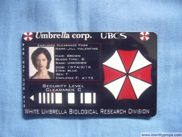 Umbrella Corporation ID Card Resident Evil  HalloweenUmbrella Corporation Zombies