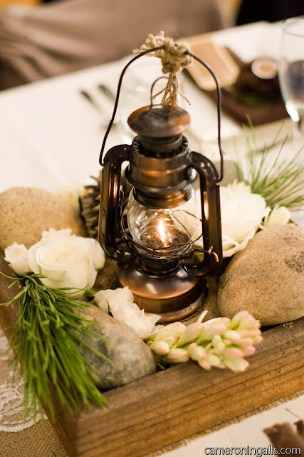 planter box and Lantern centerpiece
