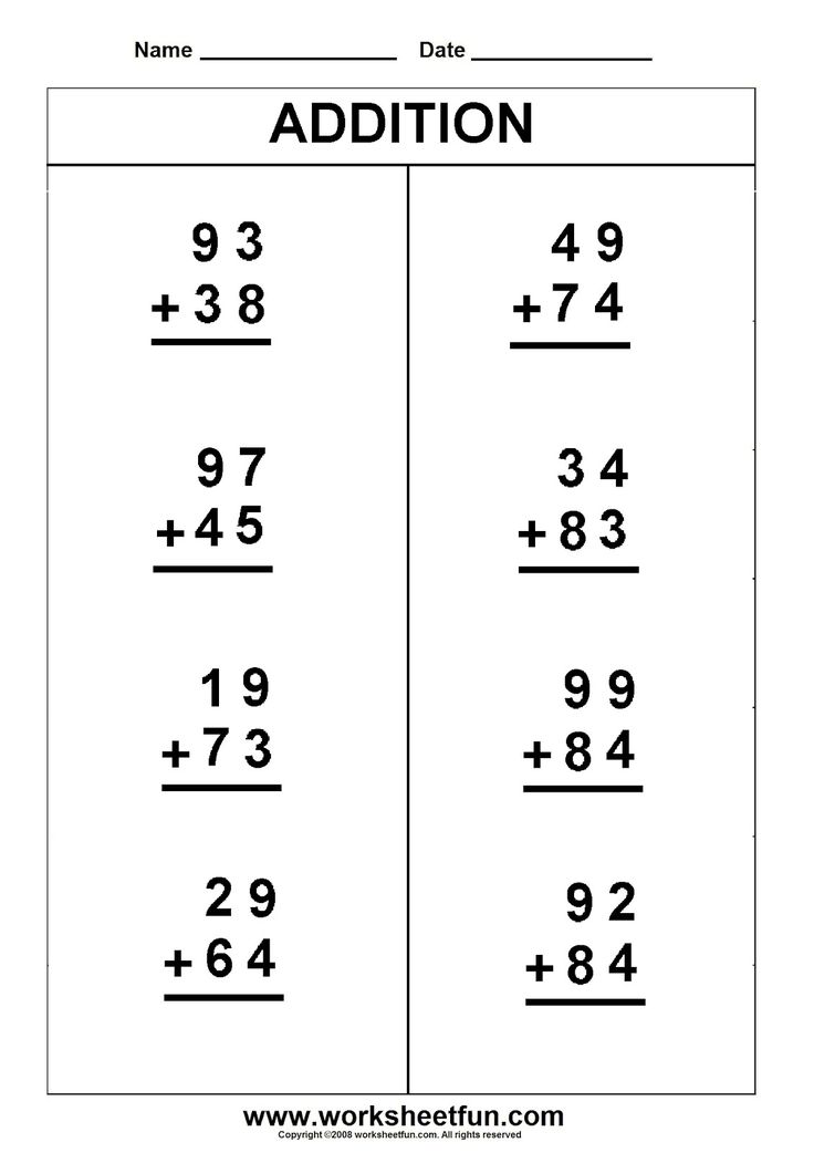 addition printable worksheets | Two digit carry addition - regrouping ...