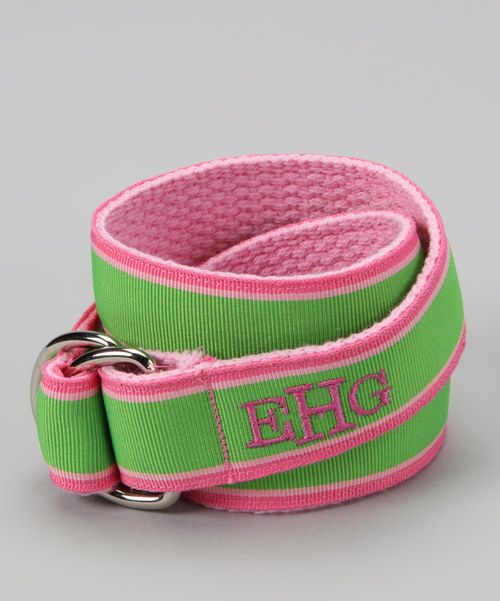 Take a look at this Pink & Green Monogram D-Ring Belt on zulily today!
