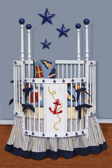 nautical round crib bedding  Isabel  Pinterest