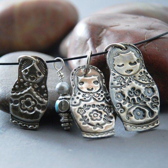 Necklace, Babushka , Matryoshka. PMC, Silver, Russian, Dolls, Nesting ...