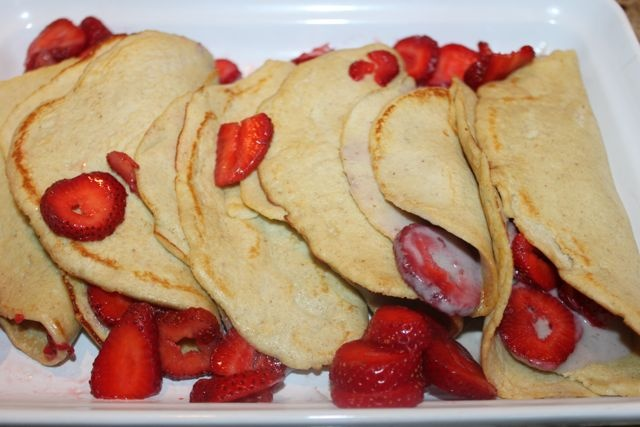 Coconut flour crepes with chocolate strawberry filling