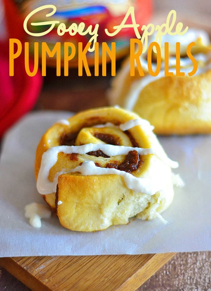 Need a quick breakfast roll with all the flavors of fall?  Then these Gooey Apple Pumpkin Rolls are for you!  Get the recipe at www.kitchenmeetsgirl.com #recipe #apple butter #pumpkin