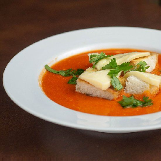 Roasted red pepper soup - a rich, flavorful homemade soup that is easy ...