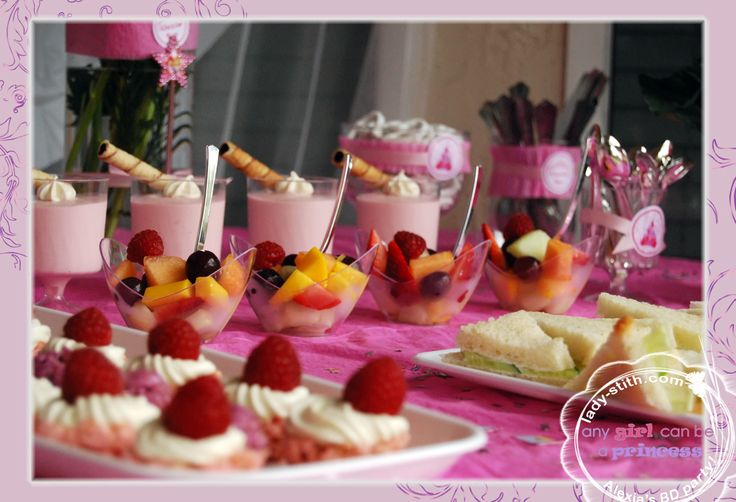 raspberries mousse, fruit salad, cucumber+cheese sandwiches, rice ...