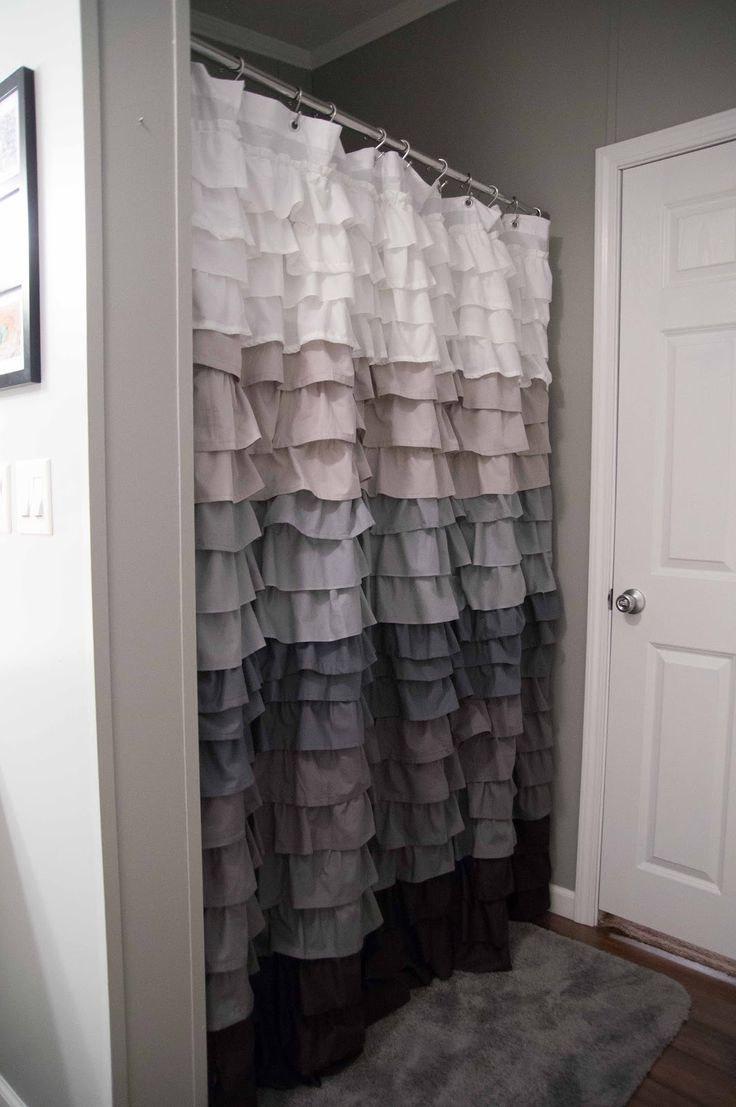 ruffle shower curtain bathrooms pinterest