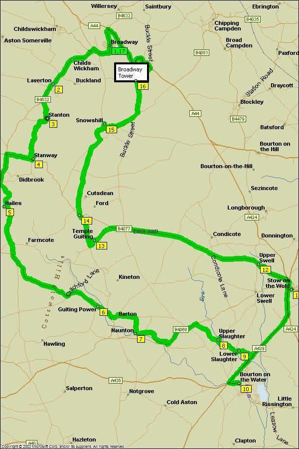 Cotswolds Driving Tour Route