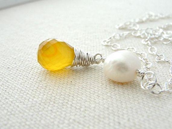 Yellow Gemstone Necklace Pearl Chalcedony Pendant by BlueRoomGems, $47.00