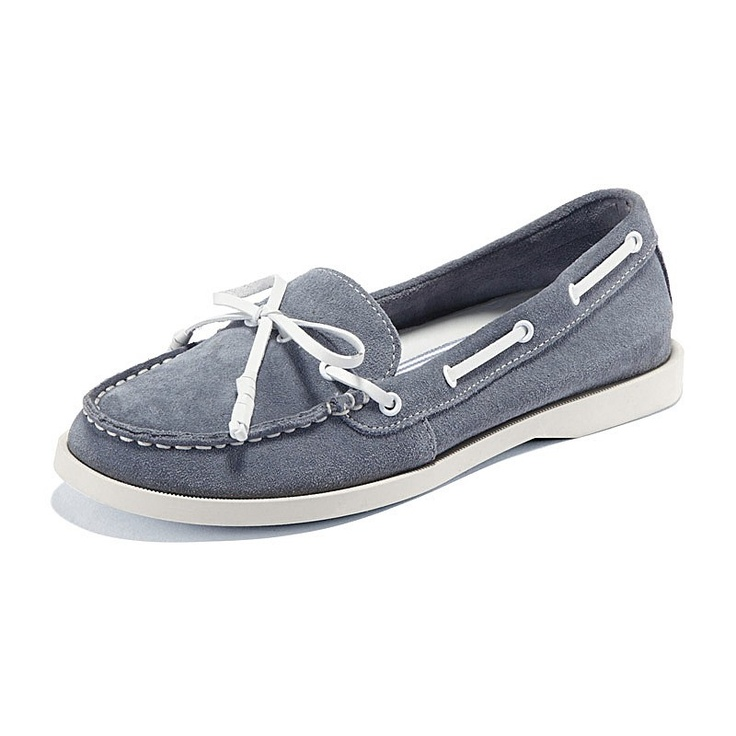 Suede Leather-Look Boat Shoes (Women