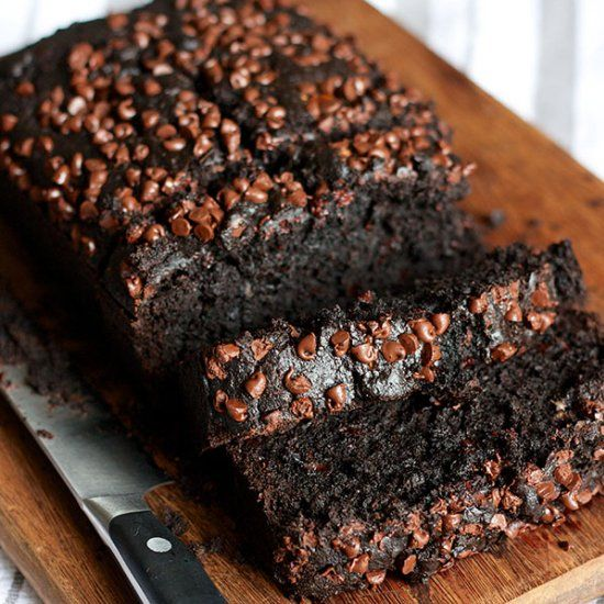 Double Chocolate Banana Bread - cocoa powder, chocolate chips, and ...