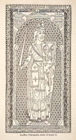 1878 Wood Engraving Enamel Effigy Geoffrey Plantagenet