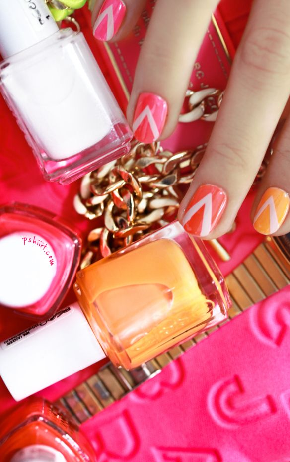 Essie's Poppy Razzi neon collection makes for a beautiful ombre nail look... plus the chevron accents = love! <3 Reminds me of summertime and delicious sorbet :D