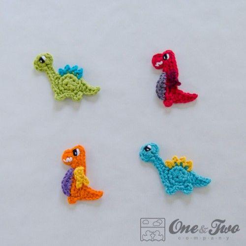 Crochet Applique : Dinos Applique Crochet Pattern Crochet Appliques Pinterest
