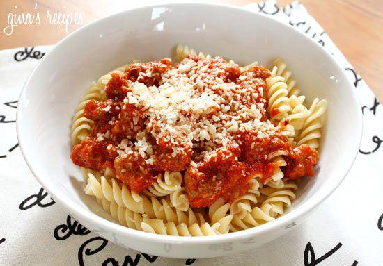 Turkey Sausage and Tomato Sauce over Pasta: use 99% FF ground turkey ...