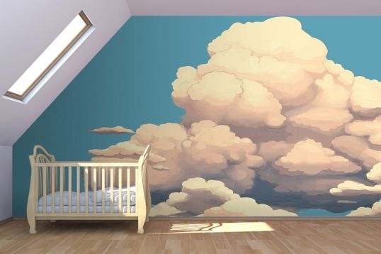 Big clouds wall mural nursery art ideas pinterest for Cloud wallpaper mural