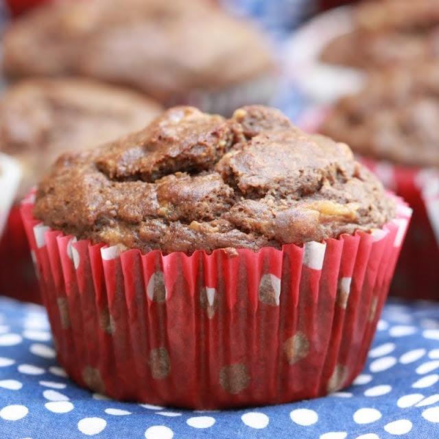 chocolate peanut butter banana muffins | forgiving martha