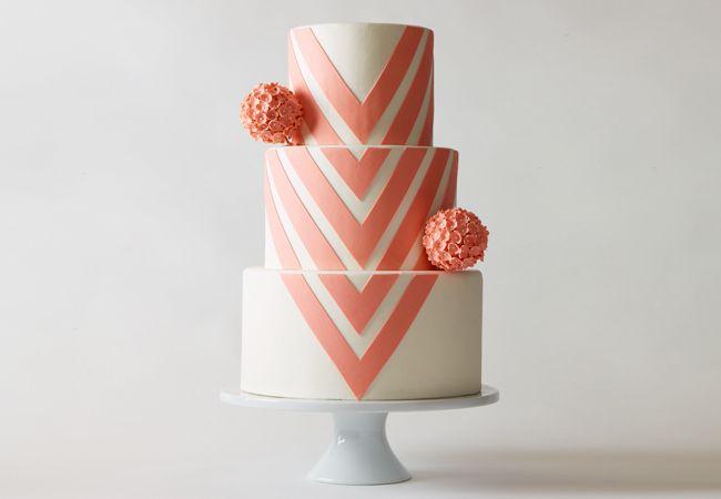 wedding cake pink chevron corallo