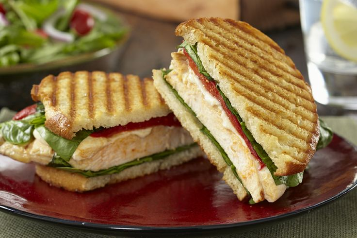 Toscana Panini - Chicken, Roasted Red Pepper, Spinach and Mozz grilled ...